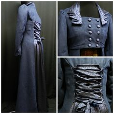 Elizabeth Bennet Pride+Prejudice+Zombies Jacket and corset custom made to your size Jacket made from soft blue faux-suede ( polyester) and blue and black satin with a floral pattern. Full lined, closed with covered buttons to the front ( double breast), and lacing at the back. Covered buttons on the wrists, and gathered sleeves on the shoulder. Bustier made from gold and black brocade silk, boned and closed with lacing on eyelets at the back. Ask me for the list of the measurements that…