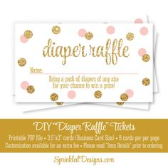 printable diaper raffle tickets blush pink gold glitter baby girl baby shower game ideas bring a pack of diapers instant download by sprinkleddesigns