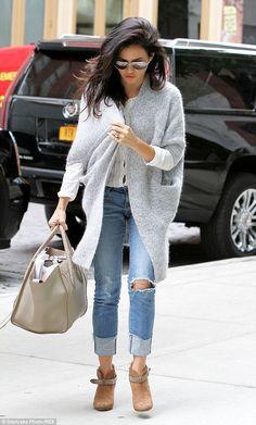 """4cf11fc6fd7 elizabethswardrobe  """" Jenna Dewan Tatum in Rag   Bone  Harrow  boots and a  Celine bag in New York."""