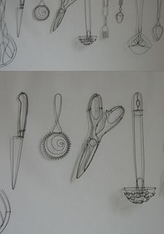 objets fils de fer sculptures et objets: ustensiles Catherine Gontier