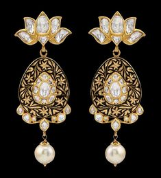 diamond and pearl chandelier earrings - Google Search