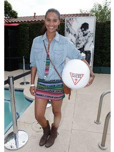 Joy Bryant at the Coachella Guess Hotel Smoke & Mirrors Party.