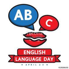 Vector: English language day vector cartoon design.
