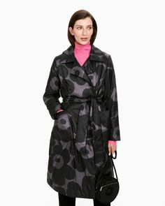 The black and dark grey Unikko pattern decorates the Marsea lightweight wadded coat, which has a pink inner lining. The coat has a concealed snap button list, a detachable belt and large patch pockets in the front. Dark Grey Color, Black Dark, Normal Body, Poppy Pattern, Marimekko, Long Toes, Body Shapes, Shop Now, Ready To Wear