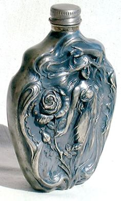 This is sso pretty ~ Art Nouveau Ladies Flask Victor Silver by Cindyloustreasures, $79.00