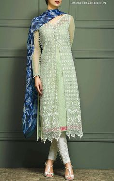 Buy Green/Silver Embroidered Net Dress by Asim Jofa 2015.