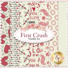 "First Crush 7 FQ Set - Vanilla by Sweetwater for Moda Fabrics: First Crush is a fun Valentine collection by Sweetwater for Moda Fabrics. 100% cotton. This set contains 7 fat quarters, each measuring approximately 18""x21"""
