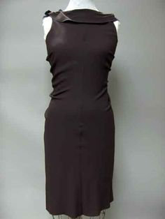 Prada aubergine crepe sleeveless sheath dress