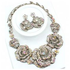 Rachelle's Fancy Large Crystal Rose Necklace & Earring Set ❤ liked on Polyvore