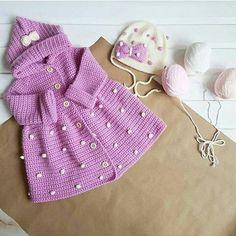 Crochet Baby Sweaters, Crochet Baby Cardigan, Crochet Coat, Knitted Baby Clothes, Crochet Jacket, Crochet Scarves, Crochet Clothes, Crochet Toddler, Baby Girl Crochet