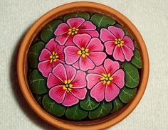 Primrose, cheerful pink garden decor, spring potted patio container decor, painted rock art by RockArtiste, $35.00
