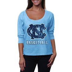 North Carolina Tar Heels (UNC) Ladies First Down Three-Quarter Dolman Sleeve T-Shirt - Carolina Blue