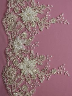 Embroidered NEEMA Lace Trim BEADED With Pearls, Diamantes & Flowers