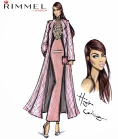 Hayden Williams Fashion Illustrations: Rimmel London fashion & beauty look for LFW day 2