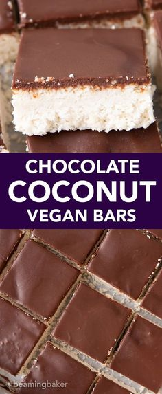 Vegan Coconut Chocolate Bars: this 5 ingredient coconut bars recipe yields thick, indulgent coconut bars enrobed in a velvety layer of rich chocolate. Healthy, Paleo, No Bake, Gluten Free. #Coconut #Bars #Vegan #Chocolate | Recipe at BeamingBaker.com Paleo Sweets, Healthy Dessert Recipes, Sweets Recipes, Vegan Desserts, Raw Food Recipes, Fall Recipes, Thanksgiving Recipes, Vegetarian Recipes, Gluten Free Chocolate