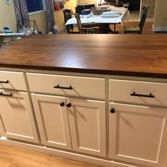 Custom Kitchen Island with Seating Item 155 Kitchen Island Table, Kitchen Island With Seating, Kitchen Cabinets, Kitchen Islands, Kitchen Paint, Kitchen Countertops, Pull Out Spice Rack, Cabinet Dimensions, Rev A Shelf