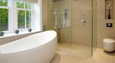 A tranquil bathroom, with clean simple lines. Tranquil Bathroom, Bespoke Furniture, Bathroom Furniture, Corner Bathtub, Bathrooms, Simple Lines, London, Google Search, Home