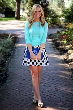 Mint & Polka Dots; I would like to find a skirt like this that reaches the top of my knee