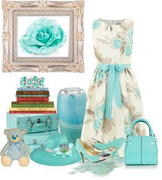 """Aqua Blue Flower"" by lilysue ❤ liked on Polyvore"