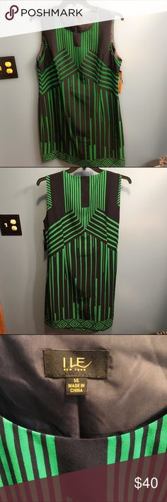 I LE New York Art Deco Print Dress - NWT, Size 14 New with tags, I LE New York dress in a green and navy blue classic Art Deco print! The navy blue is so dark that it's nearly black in color. Hits at knee. Perfect for the office or perhaps for partying with Jay Gatsby himself. Size 14. I LE New York Dresses