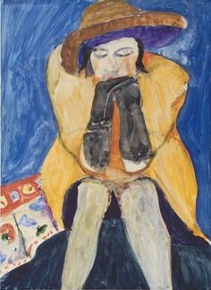 untitled picture (1963), gouache by Richard Diebenkorn (1922-1993), American - His early work was in Abstract Expressionism and then the Bay Area Figurative Movement of the 1950s and 1960s, a mid-20th Century art movement of artists from the San Francisco Bay Area who abandoned painting in Abstract Expressionism in favor of a return to figuration. The movement is often divided into three generations: First Generation, Bridge Generation, Second Generation (wiki) -  (urgetocreate)