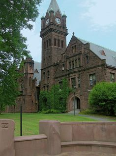 The clock tower is at Mount Holyoke College in South Hadley, Massachusetts
