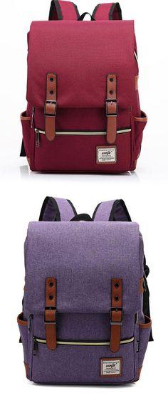 Red or purple? Vintage Canvas Travel Backpack Leisure Backpack&Schoolbag #Backpack #canvas #bag #travel #vintage #Leisure