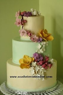 Out wedding cake is going to be based on this with hydrangeas. Salted caramel and chocolate :)