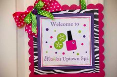 Spa Birthday Party Welcome Sign - Pink, Green, & Zebra Print on Etsy, $14.00