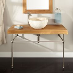 how to build a console sink | ... Natural Edge Teak Console Vanity for Vessel Sink | Signature Hardware