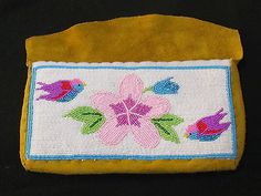 NATIVE-AMERICAN-BEADED-TANNED-MOOSE-HIED-HAND-BAG-PURSE-PINK-FLOWER-BIRDS