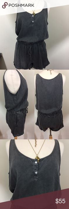 """Sneak Peek Gray Denim Romper Romper has a two button front, drawstring waist, cuffed legs and diagonal front pockets. Measures 19""""inches armpit and 32""""inches long. Drop from top of strap to waist is 20""""inches.  % Rayon. Machine wash cold. Sneak Peek  Shorts"""