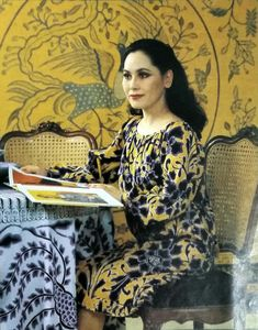 Dewi in a batik dress. From Tata Rias, Apr. World Most Beautiful Woman, Batik Dress, Sari, Dresses, Fashion, Saree, Vestidos, Moda, Fashion Styles