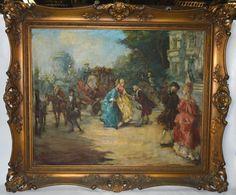 """UBEDA MARIN - """"Festa na corte"""" - Óleo sobre tela, med: 65 x 81 cm. A.C.I.E e datado 1961."""