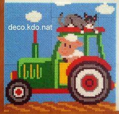 DECO.KDO.NAT: hama beads: paintings trailer tractors farm animals