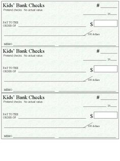 Blank Checks Template - Printable Play Checks for Kids | Blank ...