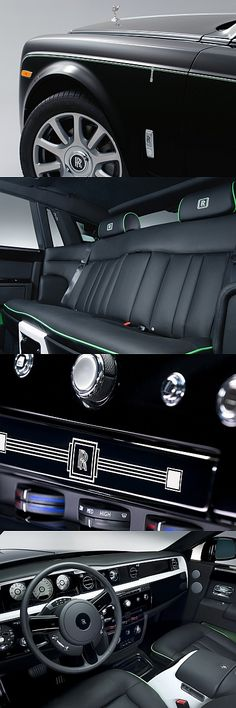 This unique Rolls-Royce Phantom is inspired by the colours and materials of the Art Deco movement. Its lustrous black finish is complemented by a striking double coachline in Fame Green and Arctic White, which features a characteristic motif, inspired by a Rolls-Royce motor show stand from the early 20th century.