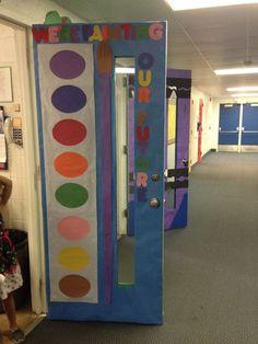 """We're painting our future"" door display...nice!"