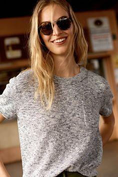 madewell pocket tee sweater worn with indio sunglasses.