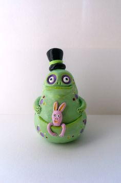Polymer Clay Sculpture Light Green Monster by ErinlesHouse, €40.00