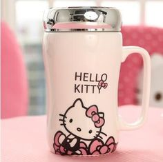 Hello kitty Cartoon Office Cup Ceramic Cup With A Cover Cup