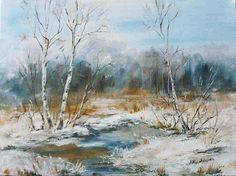 Cztery pory roku - zima - obraz akrylowy Maria Roszkowska