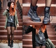 Combat boots, denim shorts, tights, basic t-shirt and over sized cardigan