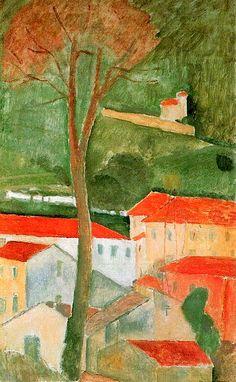 Modigliani, Amedeo/ Landschaft in der Toskana