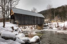 vermount bridges | Larkin Covered Bridge, Vermont | Nature Notes Over The River, Covered Bridges, Compact Mirror, Taking Pictures, Vermont, Beautiful Places, Water Wheels, Places To Visit, Notes