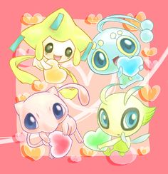 Jirachi, Manaphy, Mew and Celebi