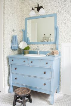 vintage furniture Blue and white bathroom featuring Anthropologie floral wallpaper, a vintage dresser turned bathroom vanity and white penny tile floors. Repurposed Furniture, Vintage Furniture, Furniture Ideas, Handmade Furniture, Rustic Furniture, Bedroom Furniture, Modern Furniture, Furniture Design, Outdoor Furniture