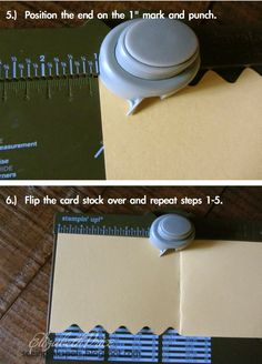 """Seeing Ink Spots: ZIG ZAG EDGES ON CARD  Cut CS @ 11"""" x 4 1/4"""", scoring @ 5 1/2"""".  Start punching @ 5"""" mark, then EVERY INCH.  Flip over and do other edge."""