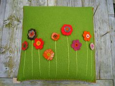 Pillow, green meadow, wool by Kyroushka / Eexterhout, via Flickr