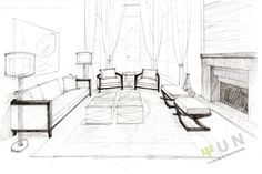 interior design sketches living room - Google Search